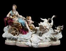 MEISSEN PORCELAIN GROUP OF VENUS IN A CHARIOT