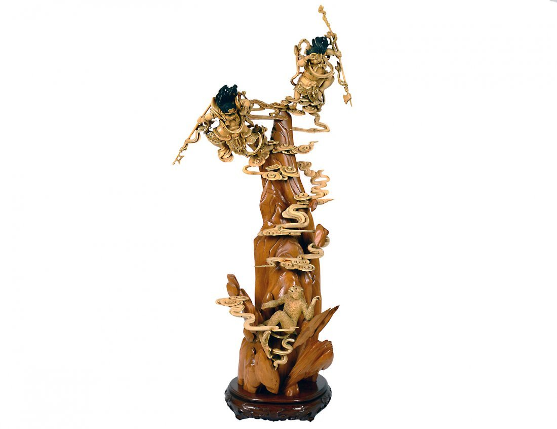 OUTSTANDING CARVED IVORY AND WOOD GROUP