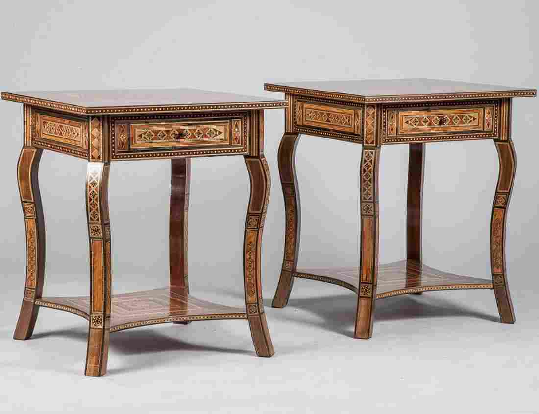 PAIR OF INLAID WOOD SIDE TABLES