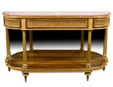 LOUIS XVI CARVED, PAINTED & GILTWOOD CONSOLE DESSERTE