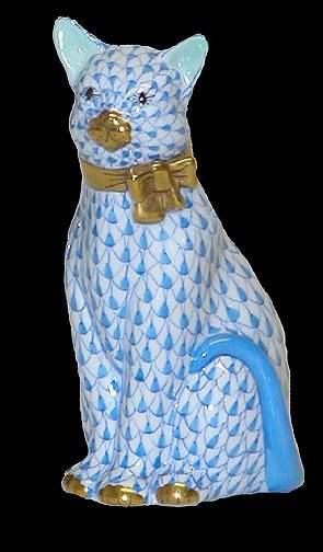 Herend Handpainted Blue Sitting Cat Figuri