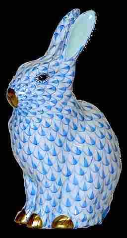 Herend Handpainted Blue Rabbit Figurine