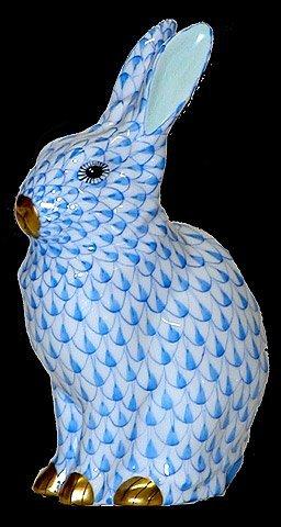 2: Herend Handpainted Blue Rabbit Figurine