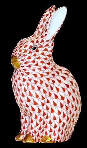 Herend Handpainted Red Rabbit Figurine