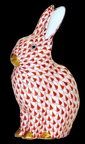 3: Herend Handpainted Red Rabbit Figurine