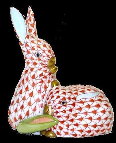 4: Herend Handpainted Red Rabbit Pair Figurin