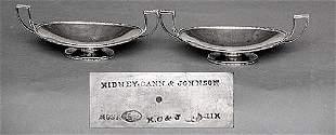 Pair KC&J Art Deco Beaded Sterling Trays