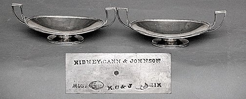 12E: Pair KC&J Art Deco Beaded Sterling Trays