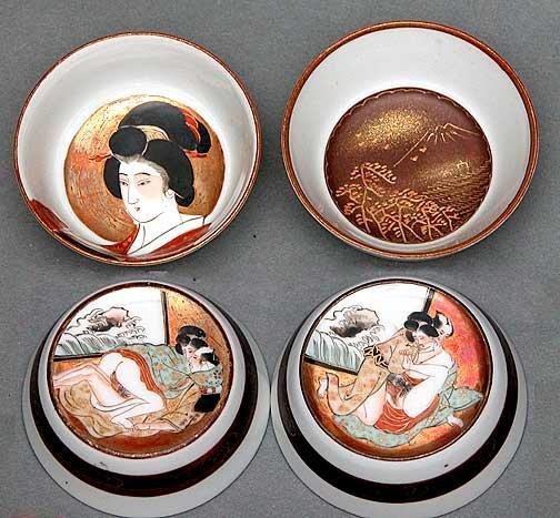 62: 2 Kutani Erotic Saki Sake Cups Shunga