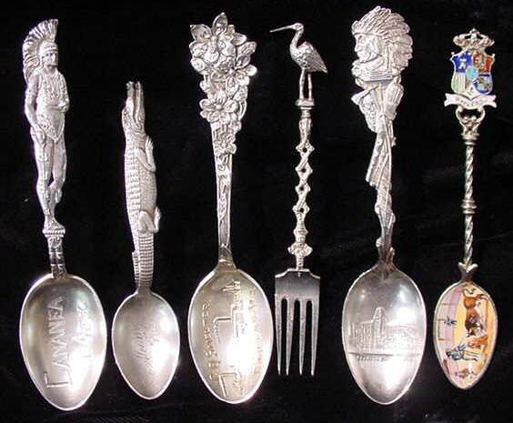 272: 6 Assorted Souvenir Spoons
