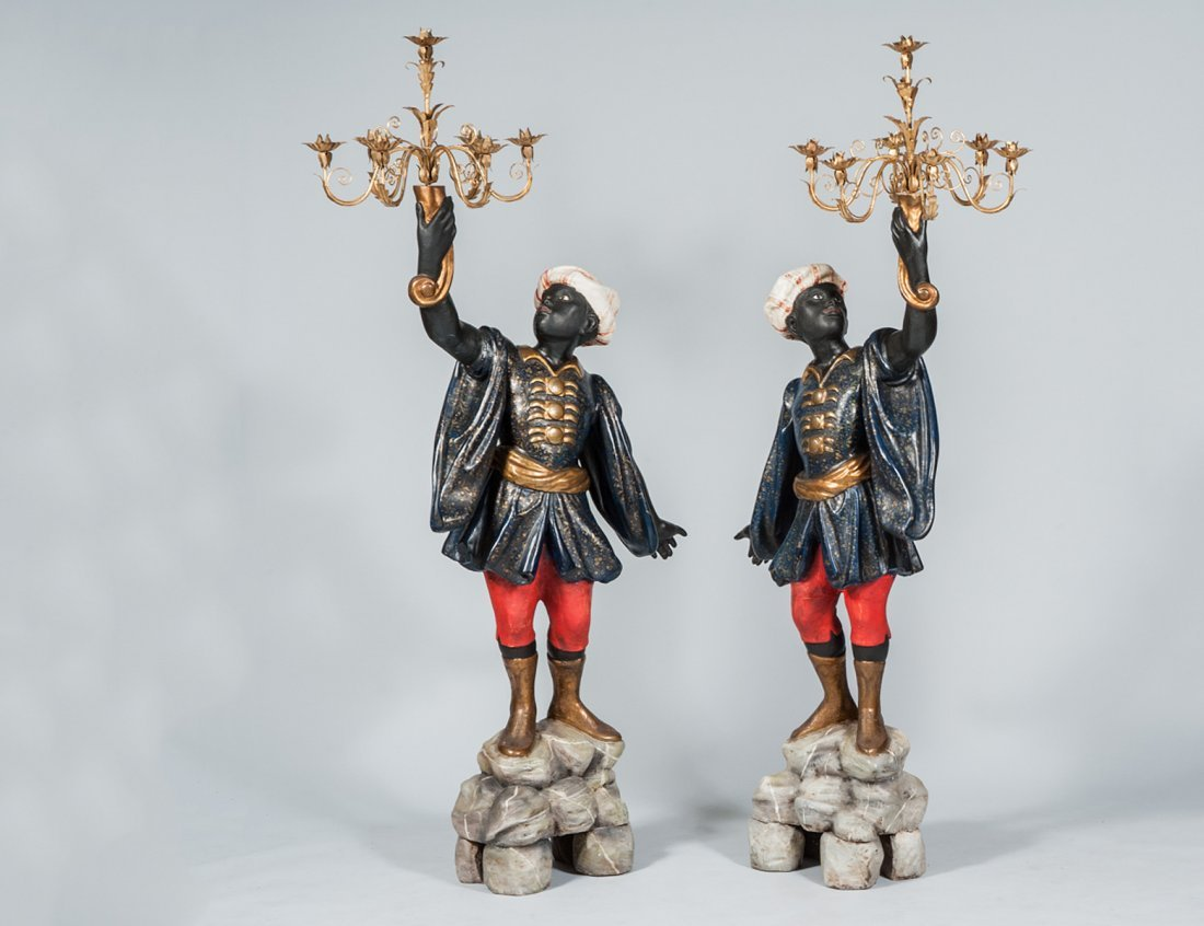 PAIR OF POLYCHROMED BLACKAMOORS