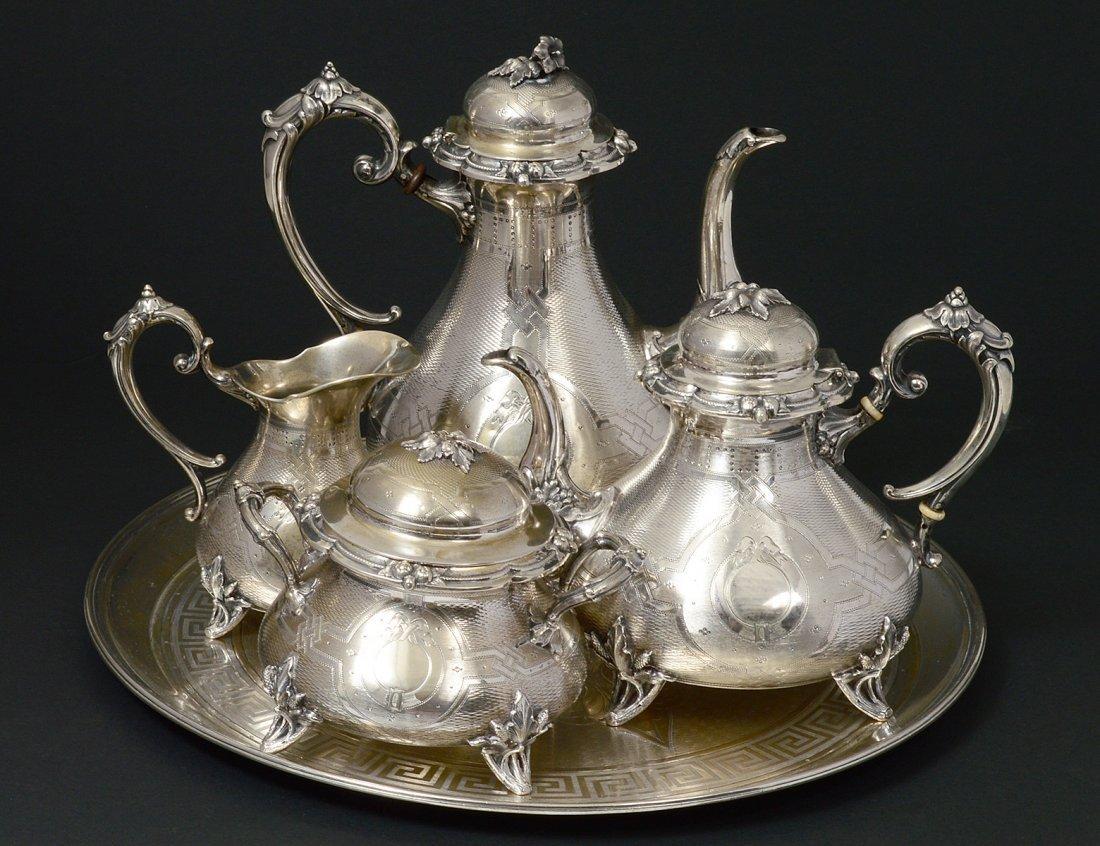 FIVE PIECE CONTINENTAL SILVER TEA AND COFFEE SERVICE