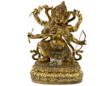 SINO-TIBETAN GILT BRONZE MAKAHALA BUDDHA