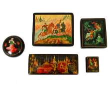 GROUP OF FIVE RUSSIAN LACQUER BOXES