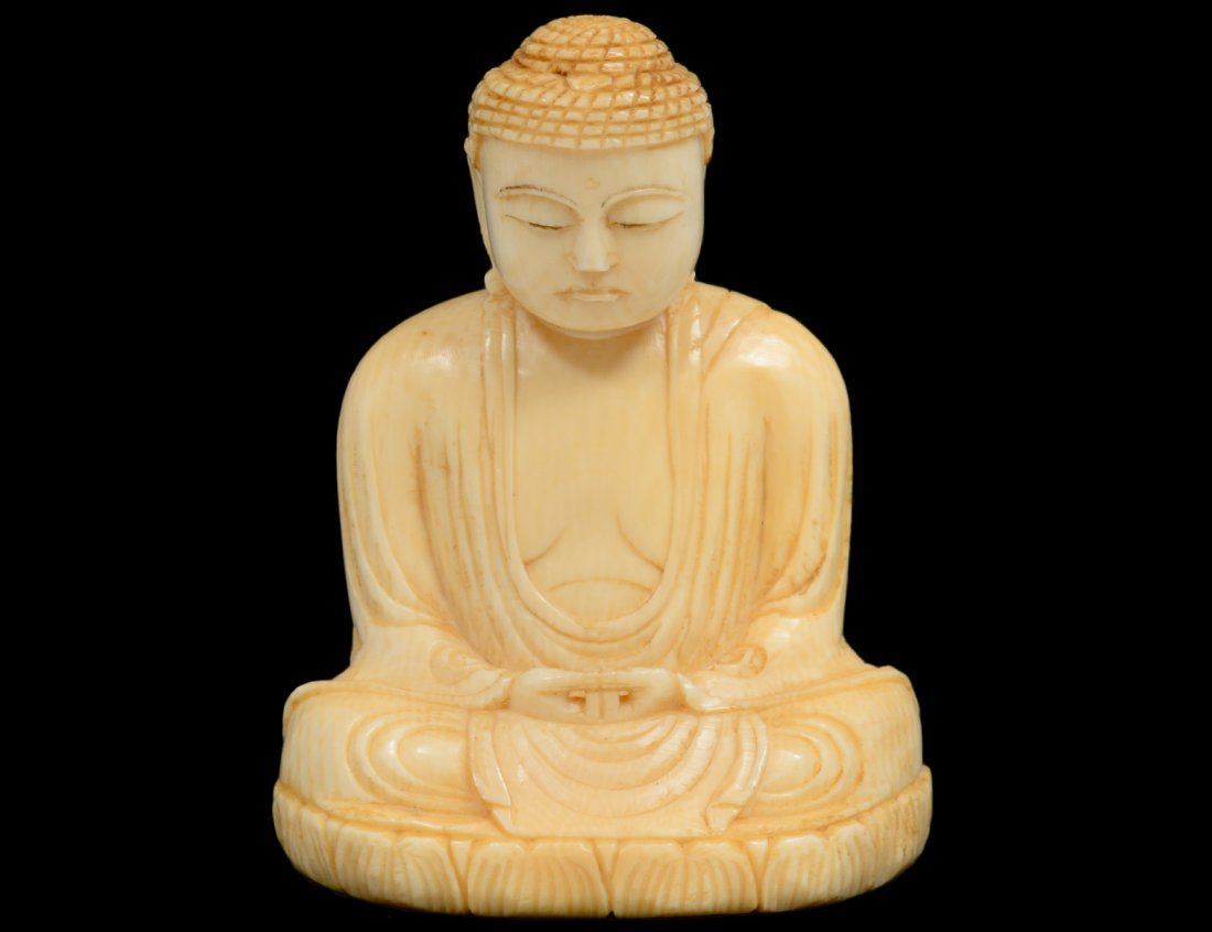 CARVED IVORY STUDY OF BUDDHA
