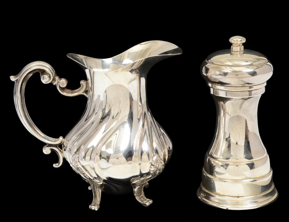 CONTINENTAL SILVER PEPPER MILL AND CREAMER