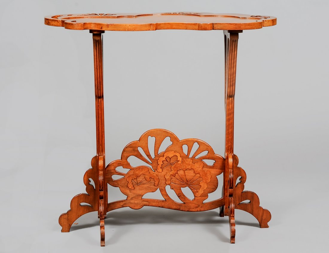 EMILE GALLE ART NOUVEAU MARQUETRY INLAID TABLE