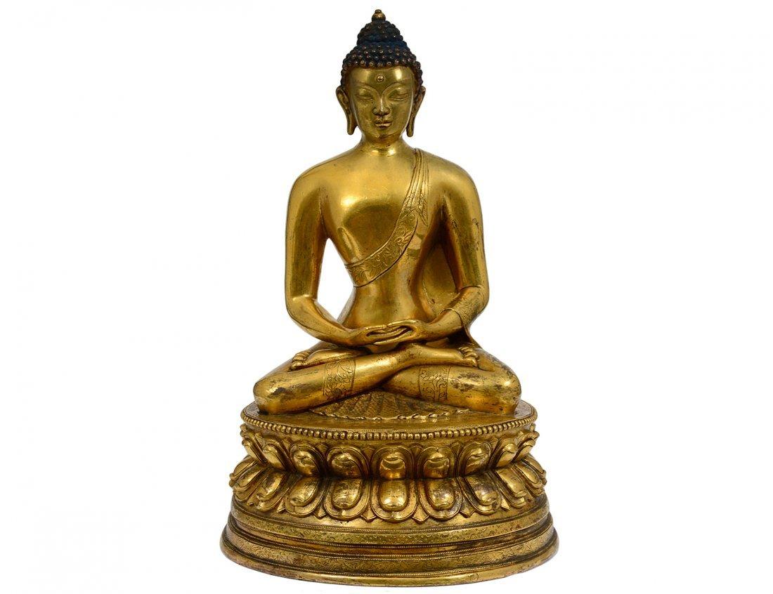 GILT BRONZE FIGURE OF AMITAYUS BUDDHA
