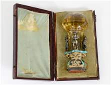 VERY FINE VIENNESE CITRON, TURQUOISE AND SILVER GILT