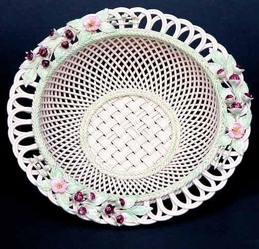 2: Belleek Painted and Flowered Blackberry Basket