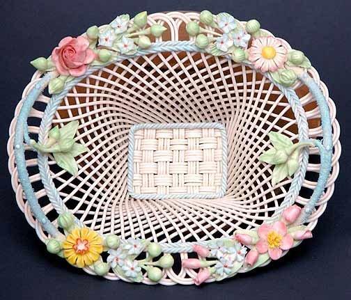 4: Belleek Painted and Flowered Henshall Shape Basket