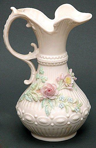 5: Belleek Painted and Flowered Aberdeen Vase