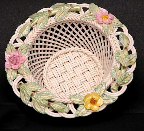 7: Painted and Flowered Belleek Summer Rose  Basket