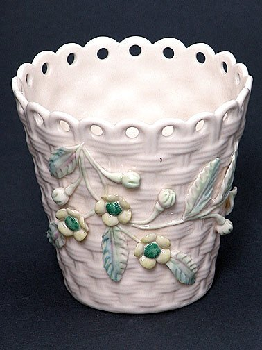 8: Belleek Painted and Flowered Basket Weave Spill
