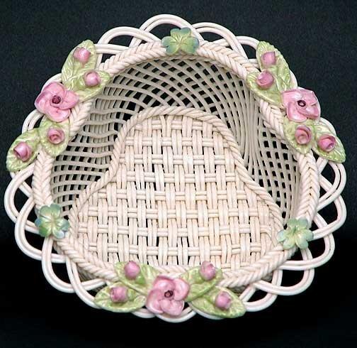10: Painted and Flowered Belleek Galway Basket