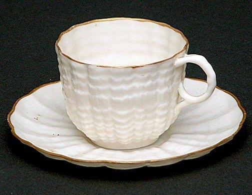 19: Belleek Egg Shell Porcelain Demitasse Cup & Matchin