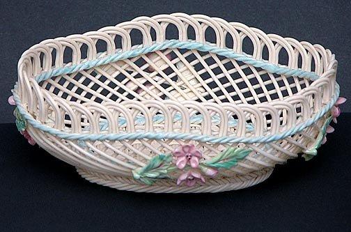 20: Painted and Flowered Belleek Oval Basket