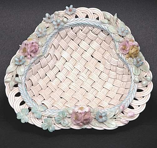 23: Painted and Flowered Erne Shape Belleek Basket