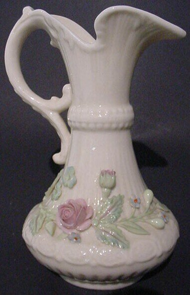 24: Belleek Painted and Flowered Aberdeen Vase