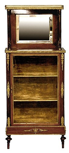 198: 19C French Bronze Mounted Display Hall Cabinet