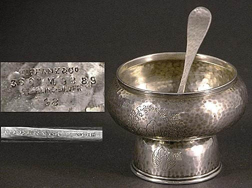 519: Tiffany & Co Sterling Silver Master Salt Dish & Sp