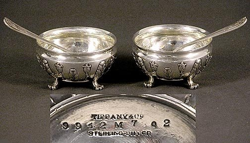 521: 2 Tiffany & Co Sterling Silver Master Salt Dishes/