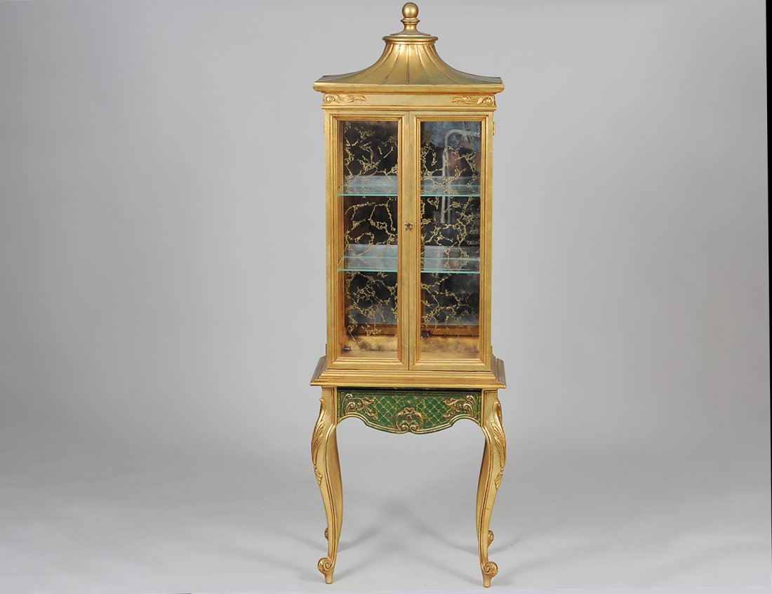 LOUIS XV STYLE GILTWOOD CURIO CABINET