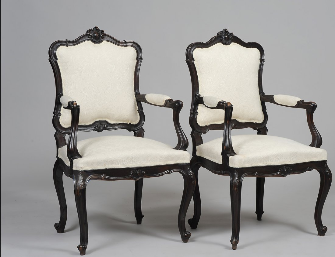TWO ARMCHAIRS WITH CREAM UPHOLSTERY
