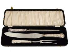 THREE PIECE SHEFFIELD PLATED CARVING SET