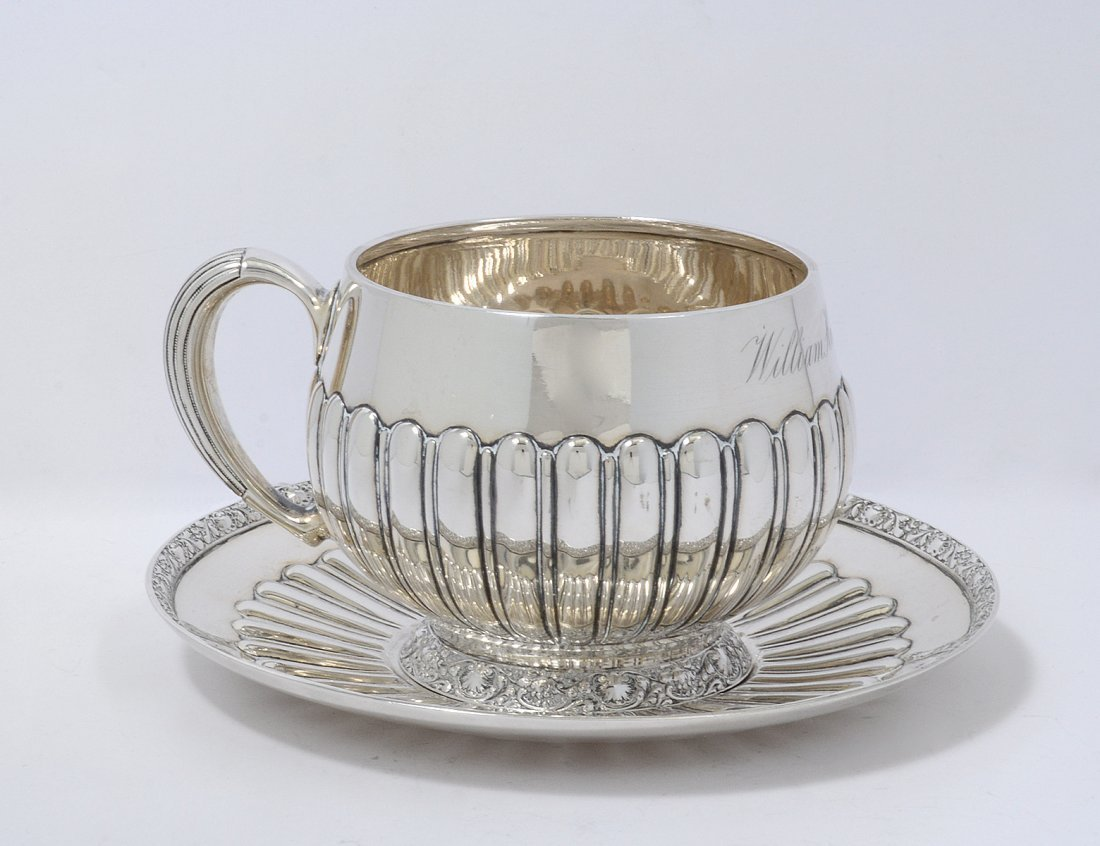 TIFFANY & CO. STERLING SILVER CUP AND SAUCER