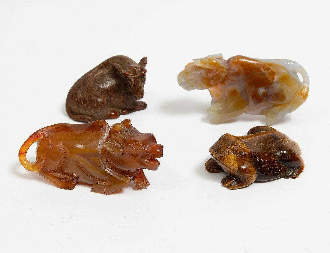 GROUP OF FOUR CARVED HARDSTONE STUDIES