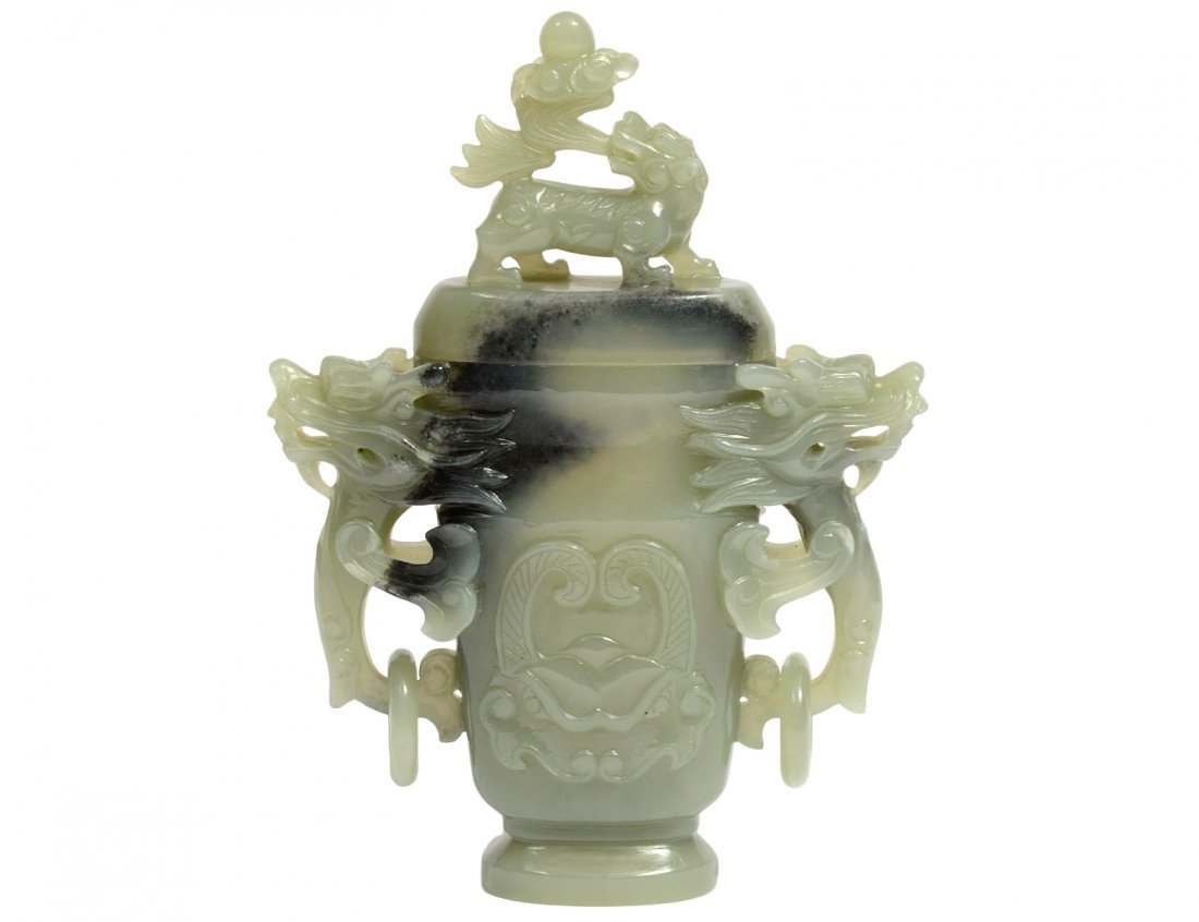 CELADON JADE URN AND COVER
