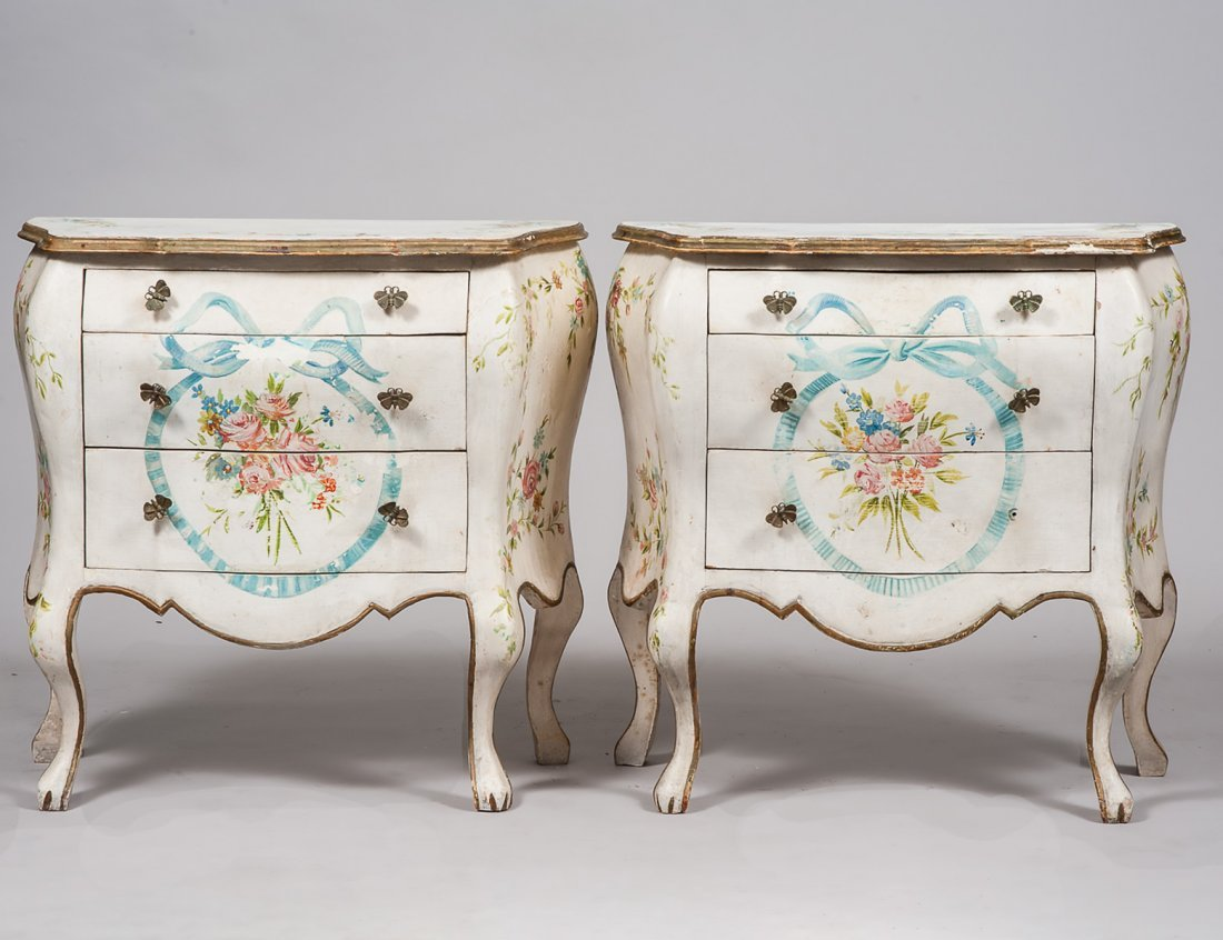 PAIR OF PAINTED SMALL COMMODES