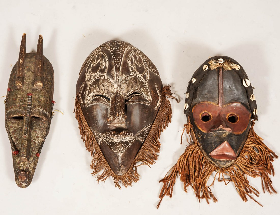 GROUP OF THREE AFRICAN TRIBAL MASKS