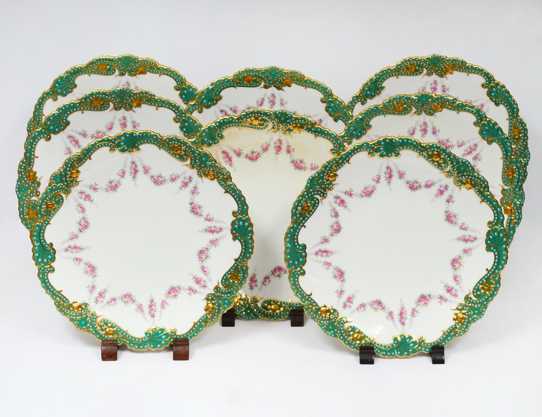 SET OF EIGHT COPELAND PORCELAIN DESSERT PLATES