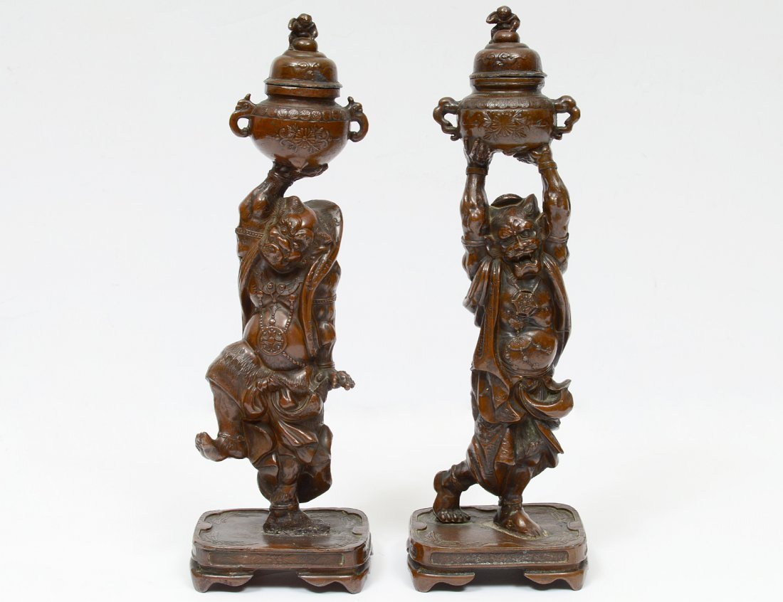 PAIR OF MEIJI-STYLE PATINATED BRONZE ONIS