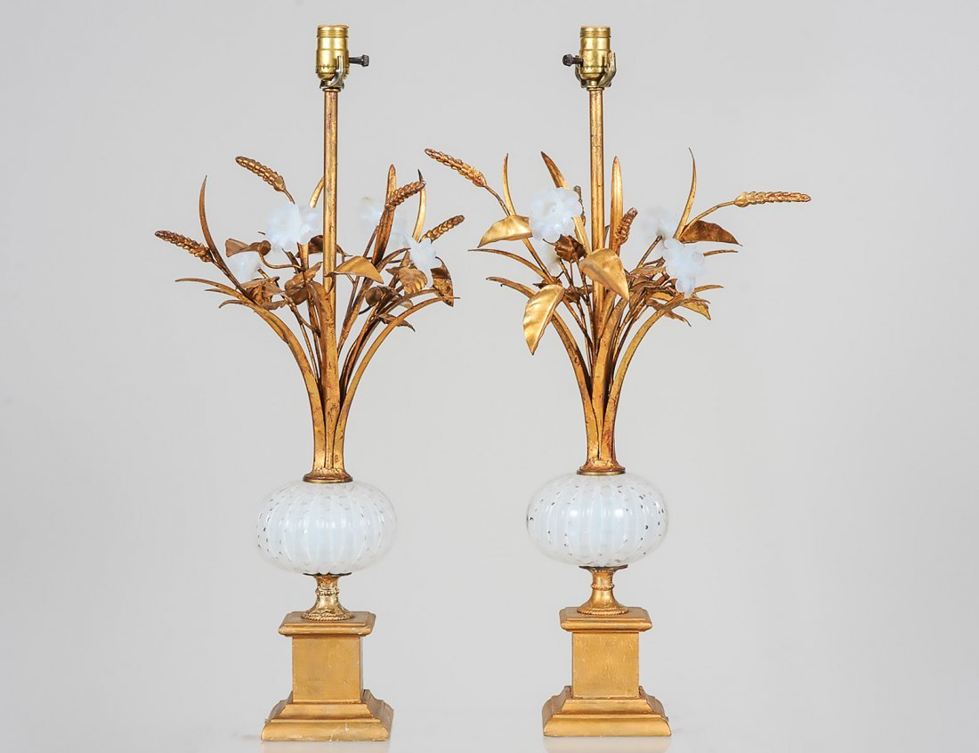 PAIR OF GILT METAL, GILT WOOD AND OPALESCENT GLASS