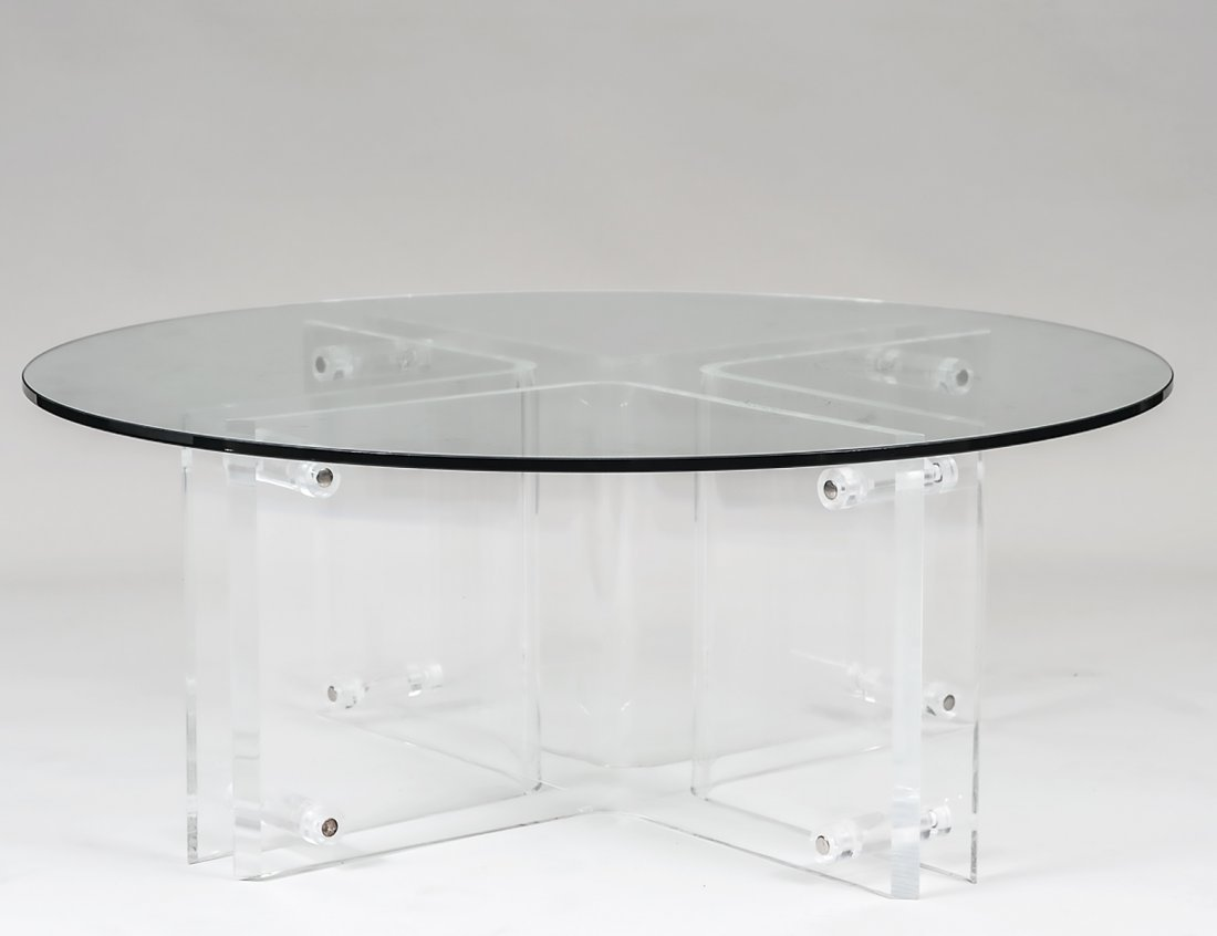LUCITE AND GLASS LOW TABLE