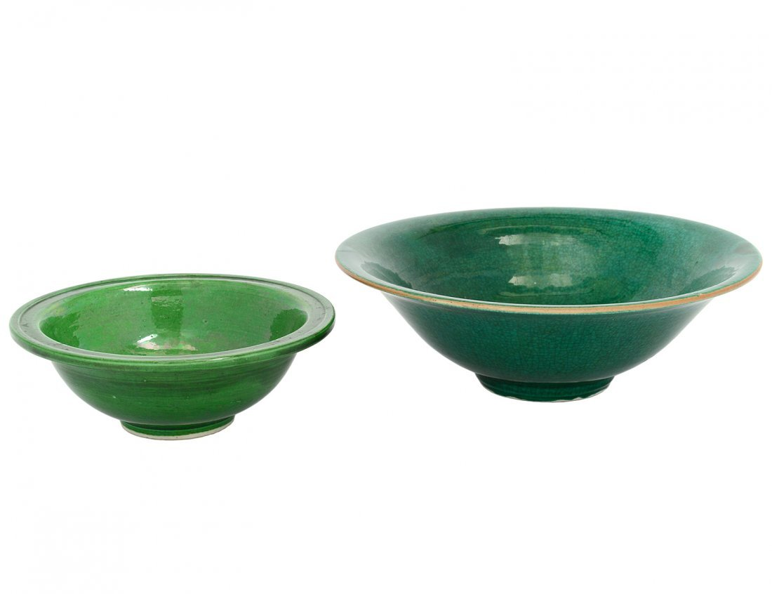 TWO GREEN GLAZED PORCELAIN BOWLS