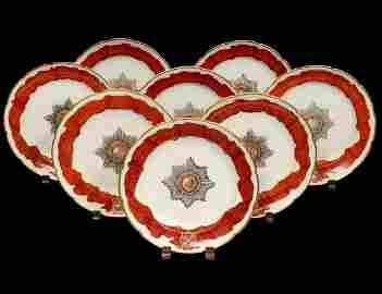 SET OF EIGHT RUSSIAN GARDNER PORCELAIN PLATES